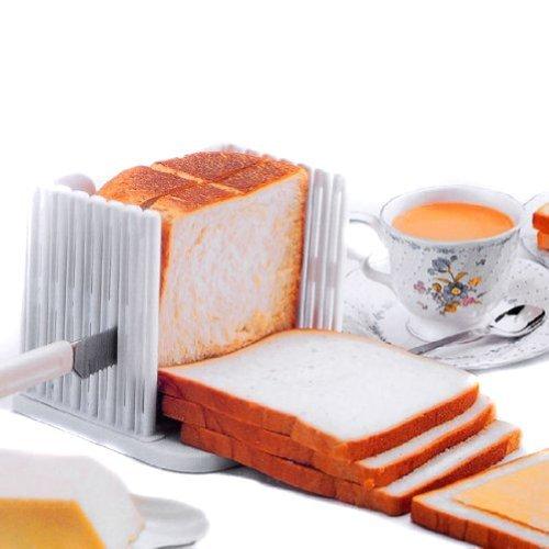 51D+mB309gL - Annedenn Küche Pro Brot Loaf Slicer Schneidemesser Schneiden Schnitte Sogar Scheiben Guide Tool, Weiß