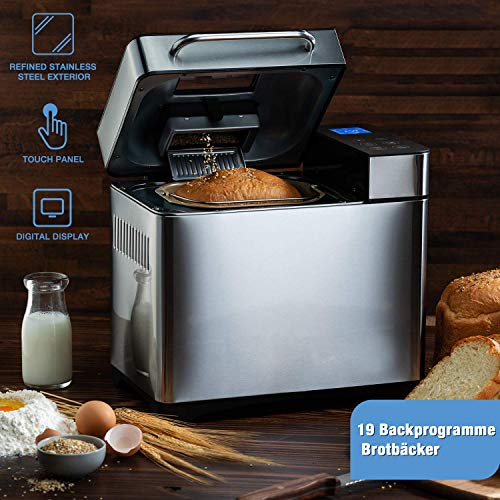 Homdox Brotbackautomat Brotbackmaschine Backmeister mit 19 Programme für 500g-1000g Brotgewicht, 710W, 15 Stunden Timing-Funktion, Silber (Silber)