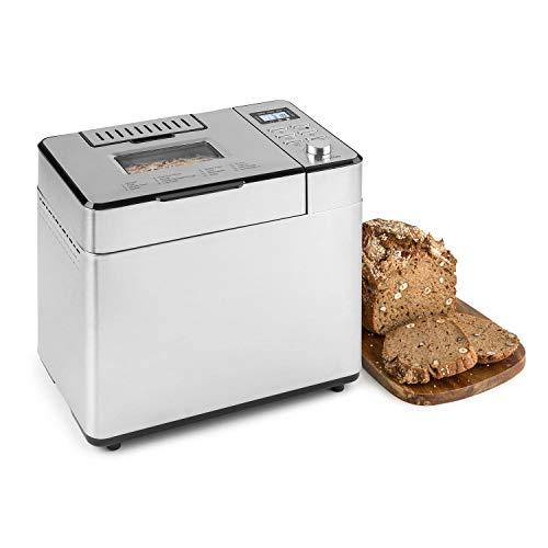 Klarstein Brotilde Family Brotbackautomat - 14 Programme, 3 verschiedene Bräunungsgrade, 1h-Warmhaltefunktion, Timer, LCD-Display, Sichtfenster, Zutatenspender, Antihaftversiegelung, Edelstahl